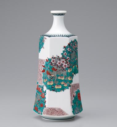 色絵墨色墨はじき花丸紋花瓶