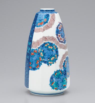 色絵藍色墨はじき花丸紋花瓶