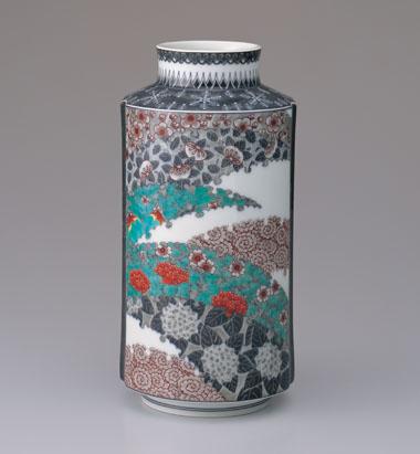 色絵墨色墨はじき四季花文花瓶
