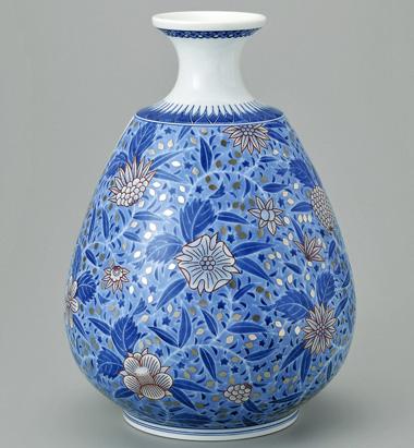 色絵雪花藍色墨はじき草花更紗文花瓶