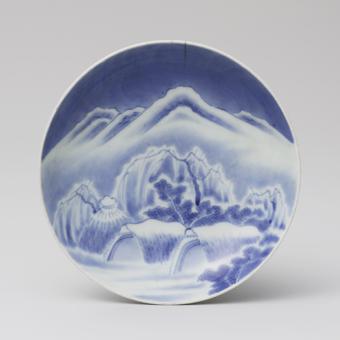 染付雪景色文皿 鍋島様式 18世紀前期