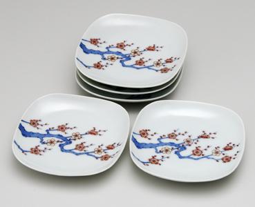 梅絵皿(3.8寸角丸)