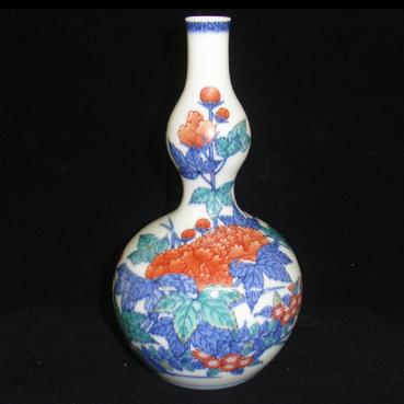 色鍋島芙蓉菊絵花瓶