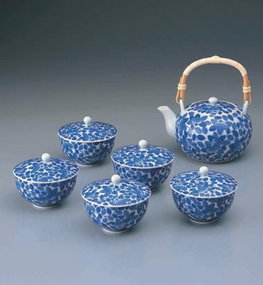 染付鍋島橘文蓋付茶器