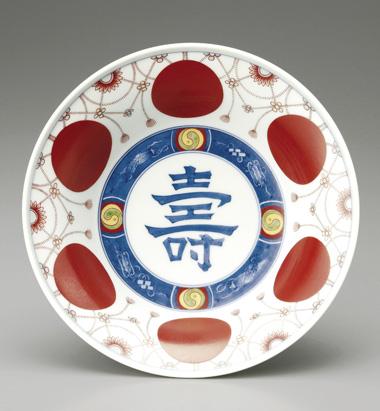 色鍋島赤玉瓔珞文飾鉢